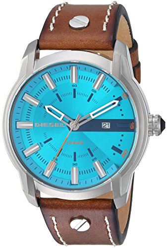 Diesel Men's 'Armbar' Quartz Stainless Steel and Leather Casual Watch, Color:Brown (Model: DZ1815)