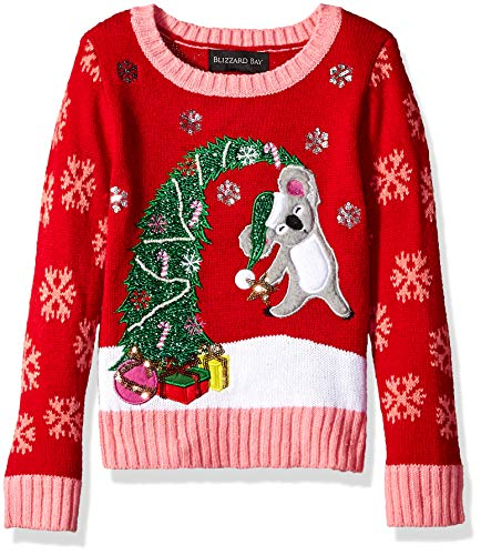 Girls' Little L/S Crew Neck Christmas Tree Sweater