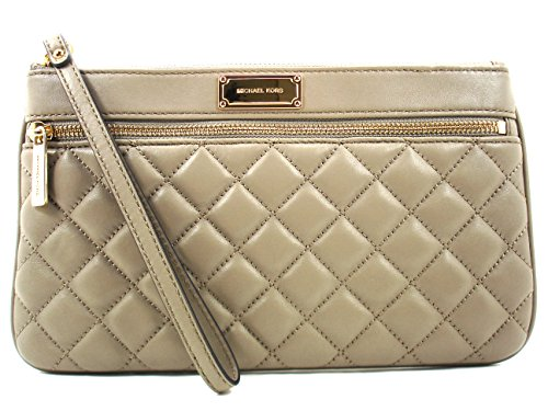 MICHAEL Michael Kors Sophie Quilt Leather Large Zip Clutch Dark Taupe/Gold