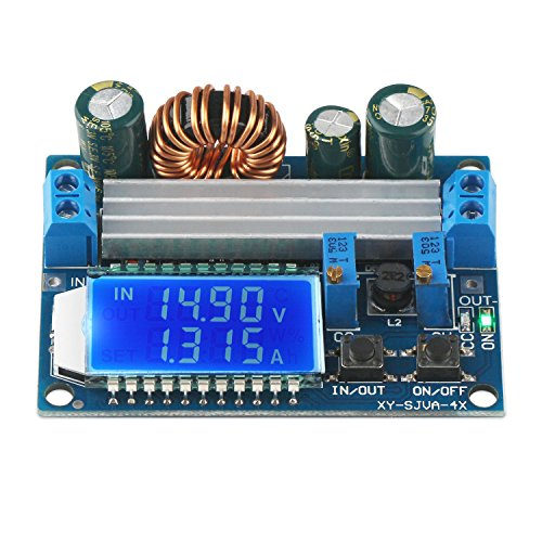 Buck Boost Converter Display, DROK Auto Buck-Boost Board DC 5.5-30V 12v to DC 0.5-30V 5v 24v Adjustable Constant Current Voltage Step UP Down Voltage Regulator 4A 50W Power Supply Module