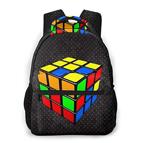 Colorful Cube Rubik Black Daypack With Adjustable Shoulder Straps, Camping Outdoor Backpack Big Capacity School Daypack Backpack Anti-Theft Multipurpose for Boys Girls