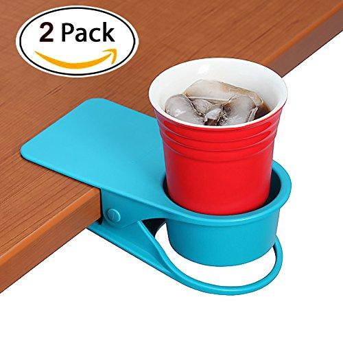 YOY 2 Piece  Home Office Table Desk Side Huge Clip Water Drink Beverage Soda Coffee Mug Holder Cup Saucer Design, Blue Blue Desk Mug