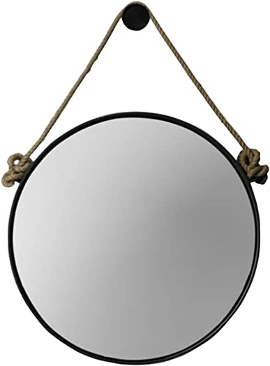 Retro Metal Wall Hanging Mirror with Hemp Rope Round Decorative Bathroom Mirrors Creative Makeup Shaving Iron Mirrors Large Color Black, Size 80cm