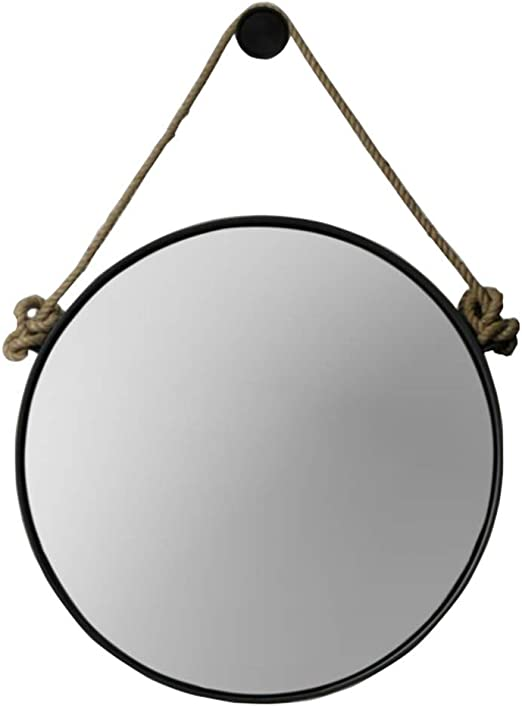 Amazon Com Retro Metal Wall Hanging Mirror With Hemp Rope Round Decorative Bathroom Mirrors Creative Makeup Shaving Iron Mirrors Large Color Black Size 60cm Home Kitchen