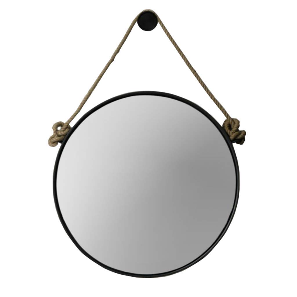 DQMSB Nordic Wrought Iron Retro Industrial Wind Wall Hanging Mirror Round Mirror Makeup Mirror Bathroom Mirror Decorative Mirror Creative Mirror Hanging Mirror Dressing Mirror (Size : 30CM)