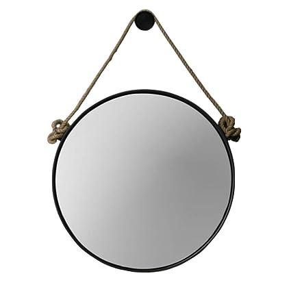 Amazon Com Retro Metal Wall Hanging Mirror With Hemp Rope Round