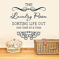 MAFENT The Laundry Room Sorting Life Out One Load at a Time Wall Quote Vinyl Mural Art Decal Romoveable Black Peel and Stick Carved Home Decal Sticker (Black)