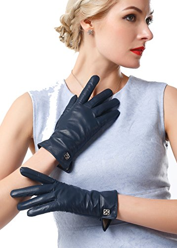 Lady In The Navy Gloves (NappaNovum Women's Classic Italian Nappa Leather Gloves Lambskin Winter Comfort Lining Fashion Gloves (Touchscreen or Non-Touchscreen) (M, Dark Navy Touch))