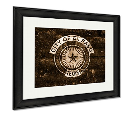 Ashley Framed Prints Flag Of El Paso Texas Painted On Dirty Wall Vintage And Old Look, Wall Art Home Decoration, Sepia, 26x30 (frame size), Black Frame, - Paso Framing El