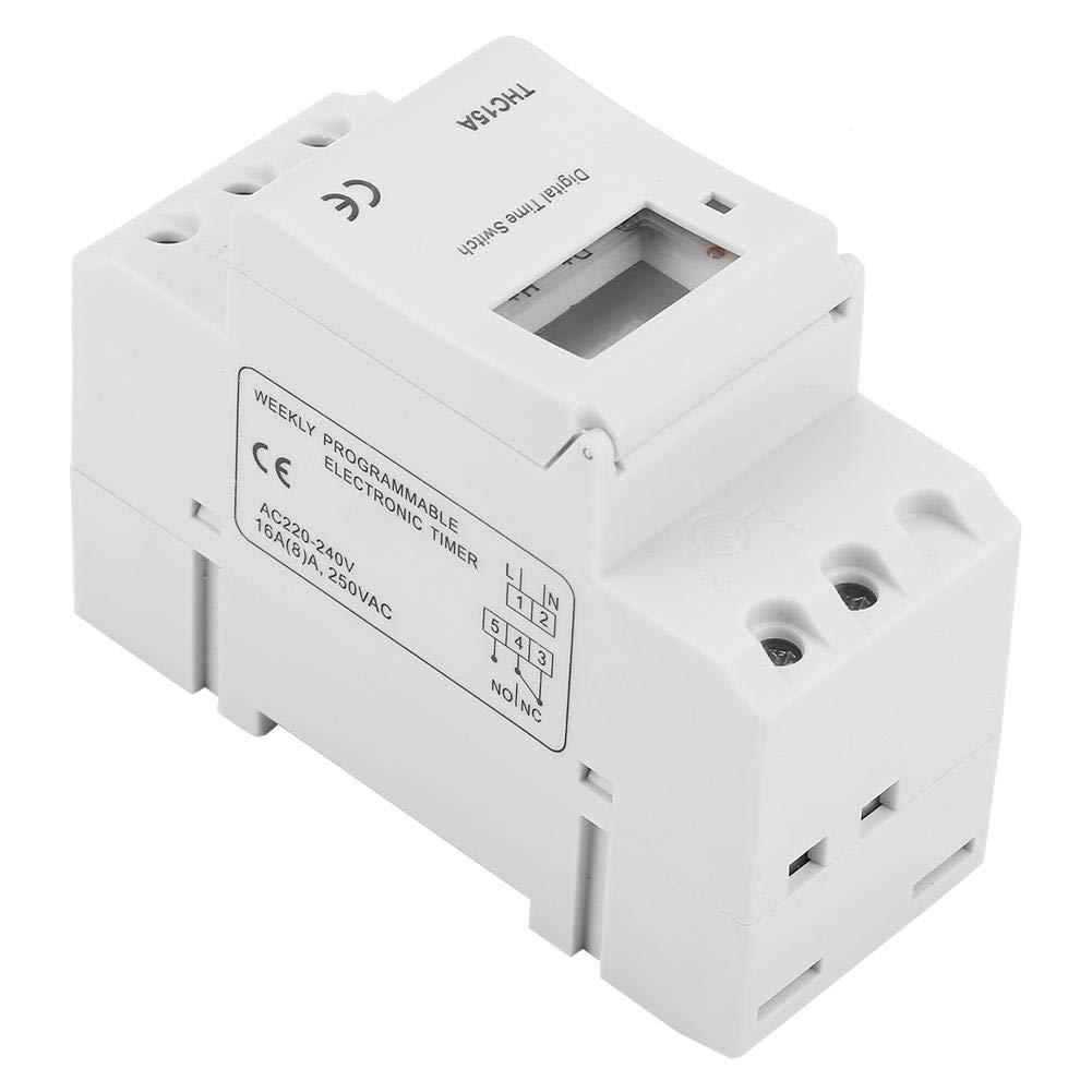 220-240VAC 16A Num/érique LCD Programmateur Horaire Electrique Hebdomadaire /à Affichage Num/érique pourRail DIN 16A THC15A Interrupteur /à Minuterie Programmable