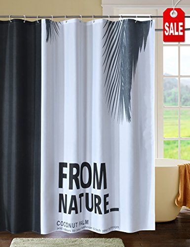 CHAYOTE HOME Fabric Shower Curtain White Black, Waterproof Mold and Mildew Resistant, Machine Washable (from Nature, 72