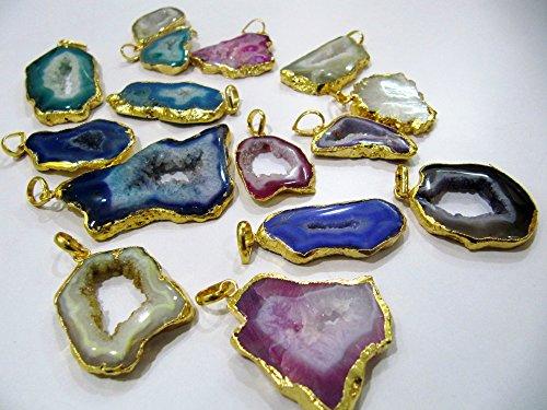 5 Pieces Mix Color Geode Agate Slice Pendant Free Form Druzy 24 kt Gold Electroplated Edges,Agate Druzy Connectors-Bulk Wholesale ()