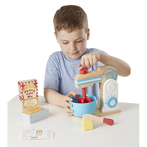 Melissa & Doug Wooden Make-a-Cake Mixer Set (11 pcs) - Play Food and Kitchen Accessories