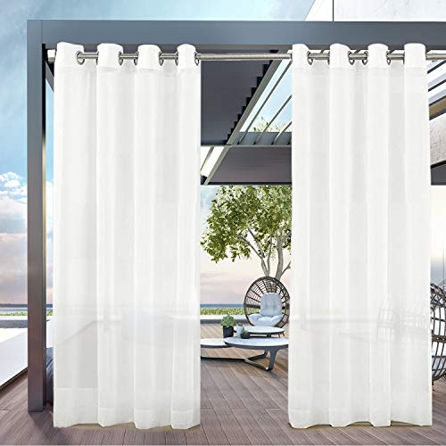 PRAVIVE Outdoor Sheer Curtain Panels - Elegant Water Repellent Grommet Indoor/Outdoor Drapes/Pergola Shades/Gazebo Blinds for Patio Privacy with Tiebacks, 54