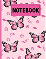 Butterfly Notebook: Pretty Cute Butterflies Blank Lined Large Notebook Journal For Kids Teens Girls Women and Entomology Students Ideal Gift For Butterfly Lovers