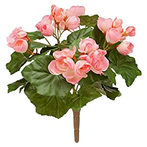 "OakRidge Silk Begonia Bush – Artificial Flowers Outdoor Décor, 10"" Long 16"