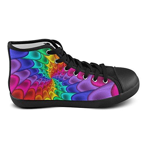 Artsadd Psychedelic Rainbow Spiral High Top Scarpe Di Tela Per Le Donne (model002)