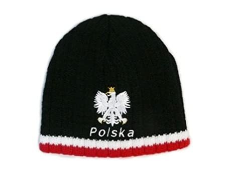 3c130092ed0 Amazon.com   Rean Knitted Polska Winter Hat with White Eagle Black ...
