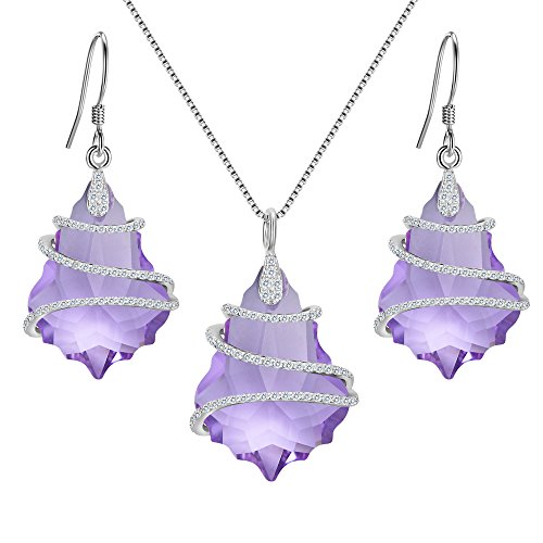 EVER FAITH 925 Sterling Silver CZ Baroque Jewelry Set Light Purple Adorned with Swarovski Crystal ()