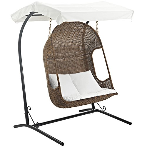 Modway Vantage Outdoor Patio Wood Swing Chair, Brown White (Rattan Swings)