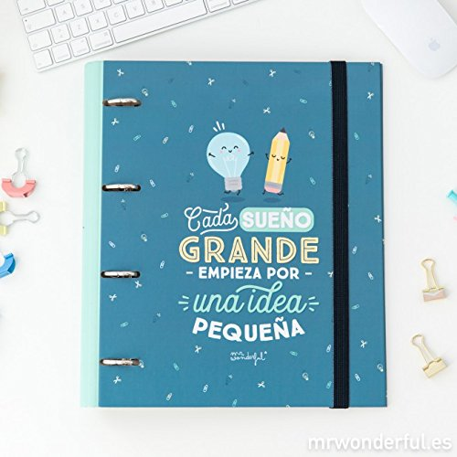 Mr Wonderful 3628729031 – Cartella anelli – Cada sonno grande Empieza Por Una Idea piccola Mr. Wonderful WOA08540ES