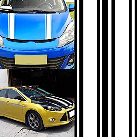 Leoie 2pcs//Set 72 inch x3 inch DIY Black Car Body Vinyl Racing Stripe Pinstripe Decal Stickers White