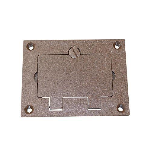 Walker 828PRGFI-BRN Brown GFI Polycarbonate Floor Box Receptacle Cover Plate, Flip Lid 1 Gang by Walker - Walker Floor Box