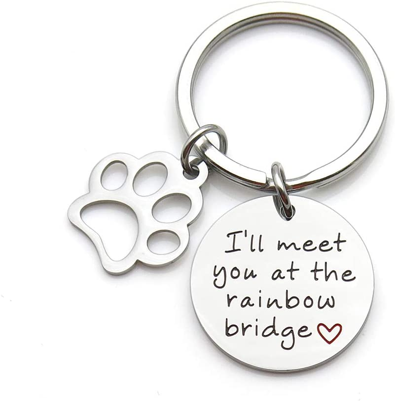 Pet Memorial Jewelry I'll Meet You at The Rainbow Bridge Stainless Steel Keychain Pet Loss Gift Pet Sympathy Gift