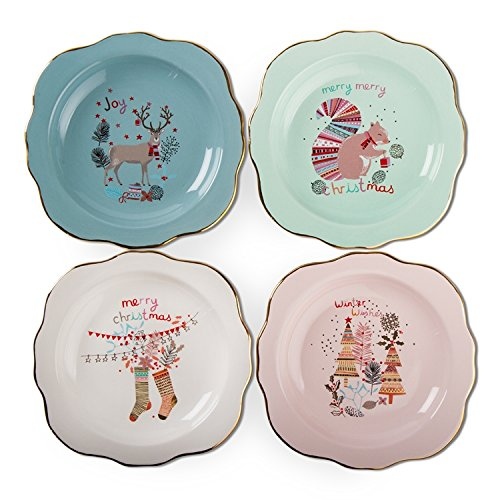 Tag Happy Holidays Green Blue Pink White Appetizer Plates Set -
