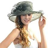 Lady Kentucky Derby Hat Church Dess Wedding Hat Sheer Wide Brim Hat (dark green)
