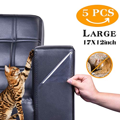 (Xyoutdoor Furniture Protectors from Cats, Pet Couch Protector, Cat Dog Claw Guards Self-Adhesive Pads + Twist pins, Cat Dog Claw Guards for SofaDoors,5PCS)