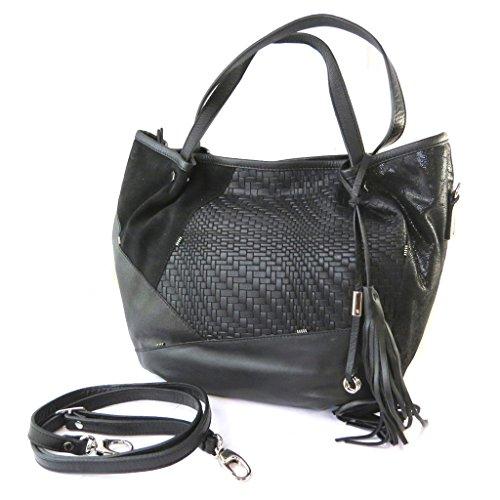 Bolsa de cuero 'Gianni Conti'mosaico negro - 32x28x17 cm.