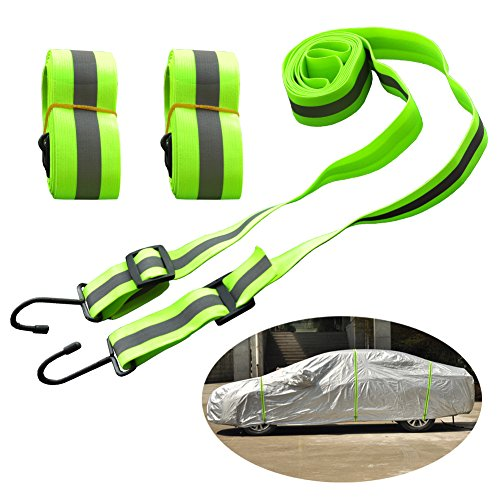 (Kayme Gust Car Cover Straps Wind Protector,3pcs Elastic Adjustable Rope Protect Cover from High Wind, Universal Fit)