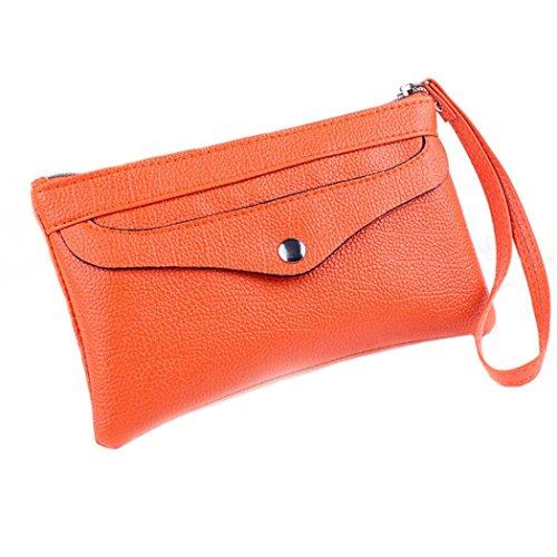 Womail Women Zipper Long Wallet Card Coin Change Holder Clutch Handbags (Orange)