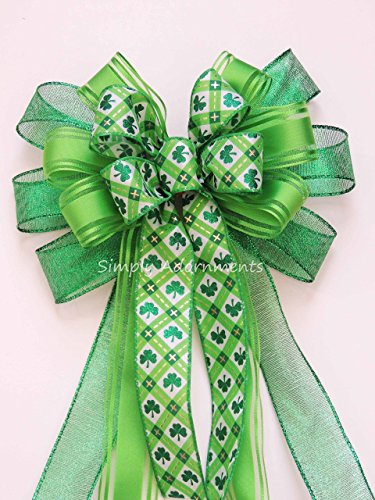 St Patrick Party Decoration Happy Saint Patrick's Wreath Bow Kelly Lime Shamrock Gift Bow St. Patrick's Door Hanger Bow Emerald Lime Irish Shamrock Bow