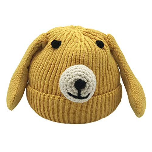 MONsin Kids Toddler Infant Baby Hat Fur Knitted Cute Cartoon Dog Beanie Warm Cap Hats Ears (Yellow)