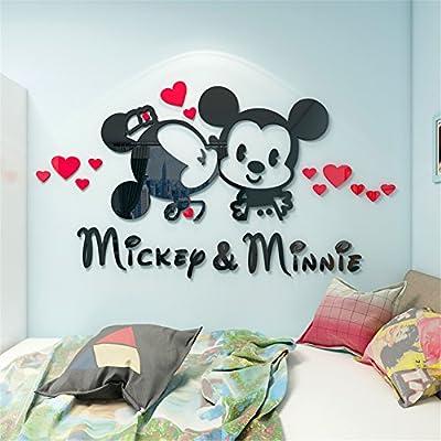 Yournelo Kid S Decorative Cute Cartoon Disney Mickey Mouse Minnie Livingroom Waterproof Pmma 3d Stereo Wall Sticker Peel Stick Wall Art Mickey