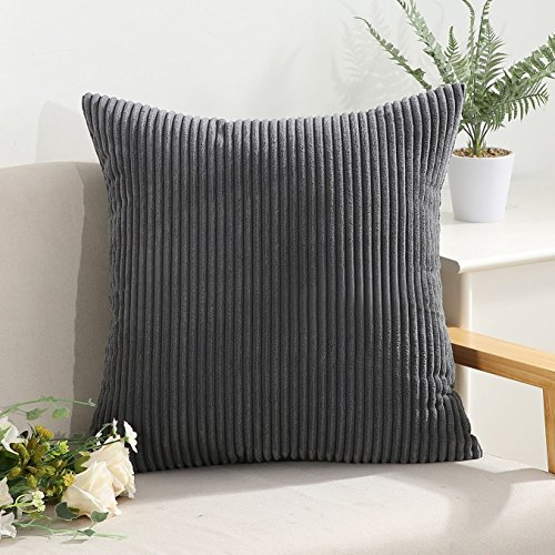 Miaote Decorative Striped Corduroy Throw Pillow Covers Cases for Couch Bed Sofa,Supersoft Velvet Cushion Covers for Baby, 26 X 26 Inches,Dark Grey (Personalized Embroidered Pillow Baby)
