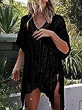 AUSELILY Womens Bathing Suit Cover Up Beach Bikini Swimsuit Swimwear Crochet Dress