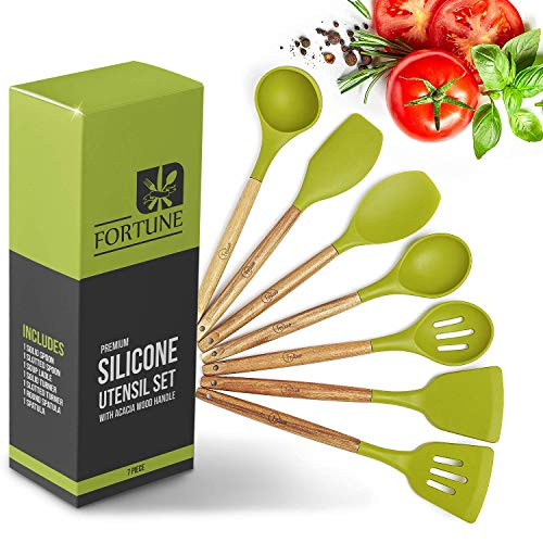 Wood Handle Silicone Spatula Utensil Set - Kitchen Utensils for Cooking - Heat Resistant Wooden Tools - Sets include spoons, spatulas. Best silicon BPA free gadgets on the market!