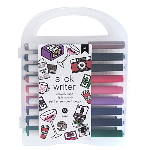 Crafts Markers Broad American Point (American Crafts Slick Writers Value Pack Pens - Fast-Drying Ink, Acrylic Tip - Pack of 18)