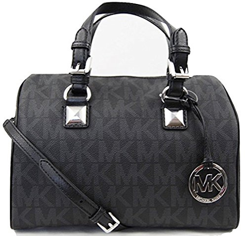 Michael Kors MD Grayson Satchel Handbag Signature MK Black PVC with Cross Body Strap