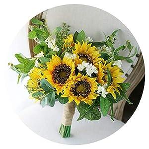 2019 Country Bridal Bouquet Yellow Sunflower Bohemian Wedding Boho Bride Artificial Wedding Bouquets ramo de Novia 35