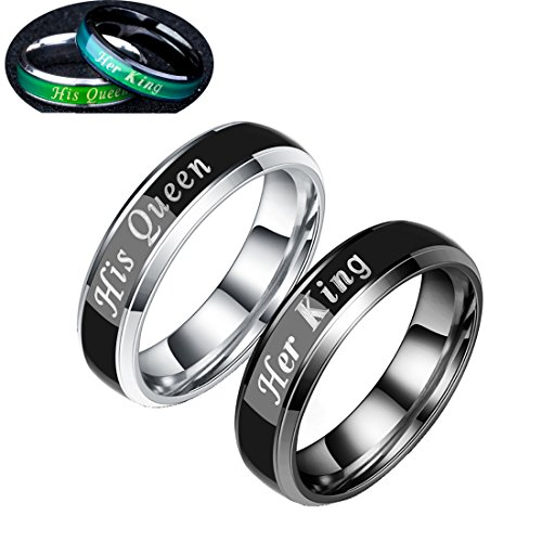 ng His Queen Stainless Steel Wedding Band Mood Ring Changing Color for Couples Best Valentine's Day Gifts Ideas ()
