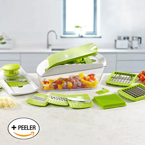 (Chop 'n' Slice Pro - Mandolin & Chopper with Storage Lid - 7 Interchangeable Blades for Chopping, Slicing, Cutting, Dicing, Grating & Julienne Slicing - Perpetual Peeler and eBook included)