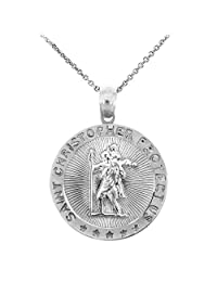 925 Sterling Silver St Christopher Medal Catholic Charm Traveler Protection Pendant Necklace