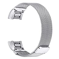 For Fitbit Charge 2 Bands, bayite Stainless Steel Milanese Loop Metal Replacement Accessories Bracelet Strap with Unique Magnet Lock for Fitbit Charge 2 HR Large Small, Silver, Black, Gold, Rose Gold