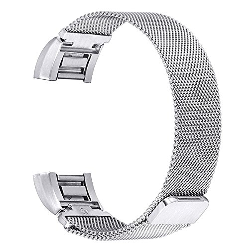 For Fitbit Charge 2 Bands, bayite Stainless Steel Milanese Loop Metal Replacement Accessories Bracelet Strap with Unique Magnet Lock, Silver Small
