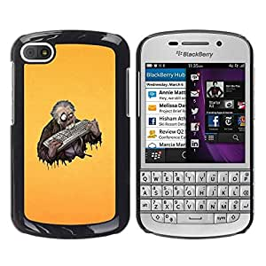 LECELL -- Funda protectora / Cubierta / Piel For BlackBerry Q10 -- Funny Keyboard Zombie --