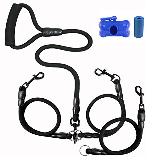 Heavy Duty Dual Dog Leash /Triple Dog Leash,360°Swivel No Tangle Double Dog Walking Training Leash,2-way&3-way interchangeable Lead with Hand-protected Handle Waste Bag Dispenser for Two/Three Dogs by SonQueen